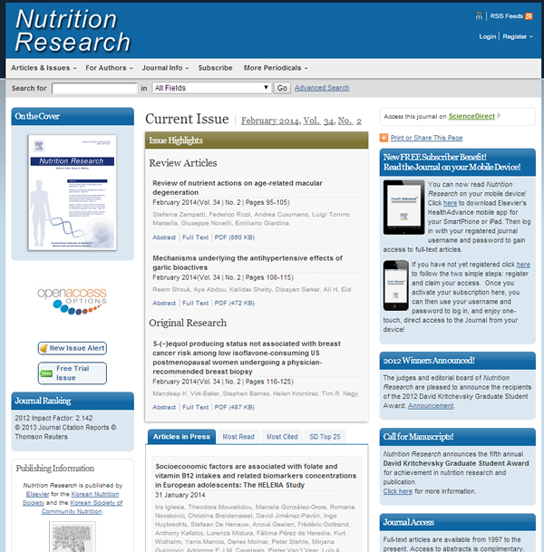 Nutrition Research Journal web page