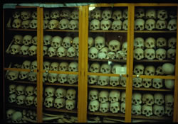 Skulls of executed Xians displayed at Nea Moni Monastery, Greek island of Xios: Victims of the 1822 massacre