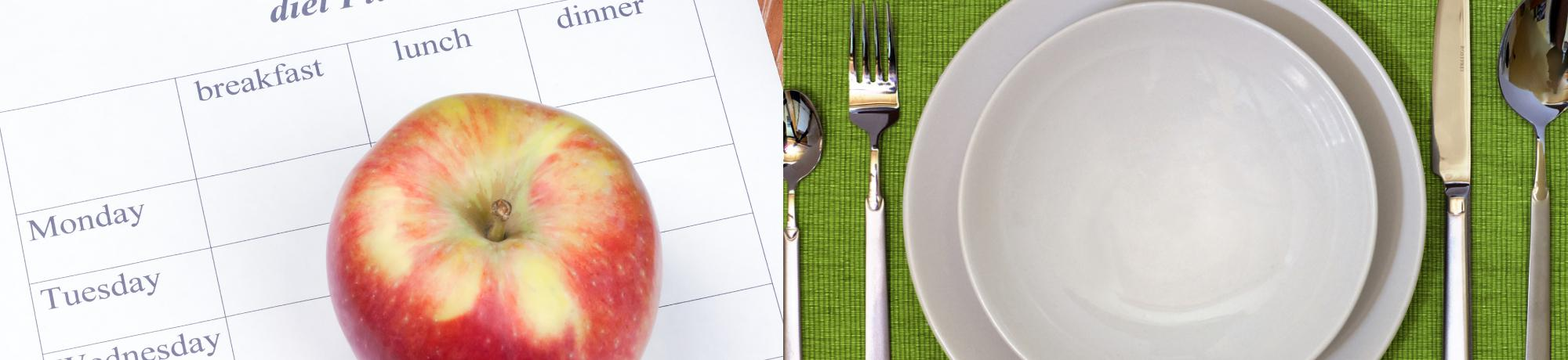 Meal plan sheet and empty dish